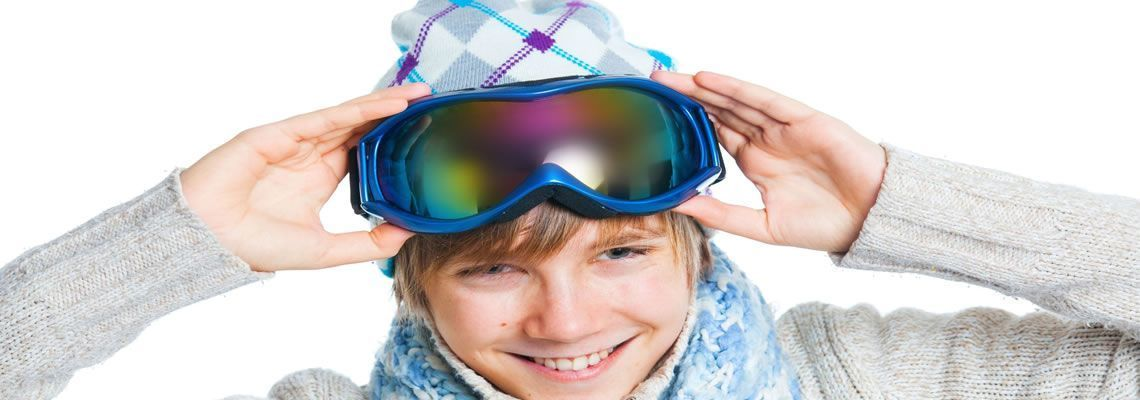 Boy with accessories purchased at the San Rocco store in Livigno